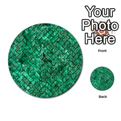 Brick2 Black Marble & Green Marble (r) Multi Purpose Cards (round)