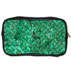 Brick2 Black Marble & Green Marble (r) Toiletries Bag (one Side) by trendistuff