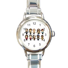 The Walking Dead   Main Characters Chibi   Amc Walking Dead   Manga Dead Round Italian Charm Watch by PTsImaginarium