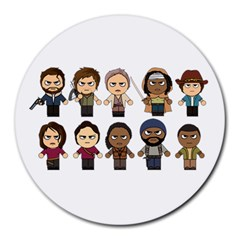 The Walking Dead   Main Characters Chibi   Amc Walking Dead   Manga Dead Round Mousepads by PTsImaginarium