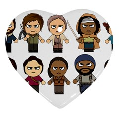 The Walking Dead   Main Characters Chibi   Amc Walking Dead   Manga Dead Ornament (heart)  by PTsImaginarium