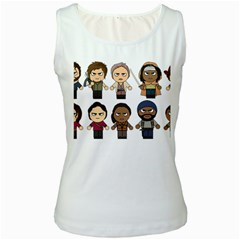 The Walking Dead   Main Characters Chibi   Amc Walking Dead   Manga Dead Women s White Tank Top by PTsImaginarium