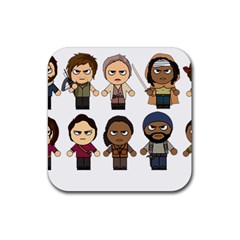The Walking Dead   Main Characters Chibi   Amc Walking Dead   Manga Dead Rubber Square Coaster (4 Pack)  by PTsImaginarium