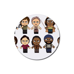 The Walking Dead   Main Characters Chibi   Amc Walking Dead   Manga Dead Rubber Round Coaster (4 Pack)  by PTsImaginarium