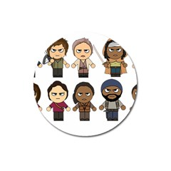 The Walking Dead   Main Characters Chibi   Amc Walking Dead   Manga Dead Magnet 3  (round) by PTsImaginarium