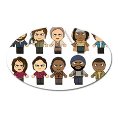 The Walking Dead   Main Characters Chibi   Amc Walking Dead   Manga Dead Oval Magnet by PTsImaginarium