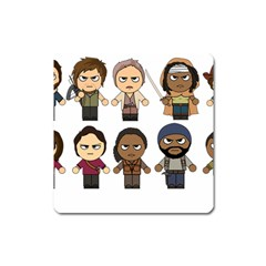 The Walking Dead   Main Characters Chibi   Amc Walking Dead   Manga Dead Square Magnet by PTsImaginarium