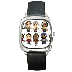 The Walking Dead   Main Characters Chibi   Amc Walking Dead   Manga Dead Square Metal Watch by PTsImaginarium