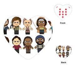The Walking Dead   Main Characters Chibi   Amc Walking Dead   Manga Dead Playing Cards (heart)  by PTsImaginarium