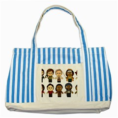 The Walking Dead   Main Characters Chibi   Amc Walking Dead   Manga Dead Striped Blue Tote Bag by PTsImaginarium