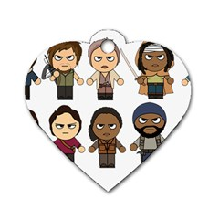 The Walking Dead   Main Characters Chibi   Amc Walking Dead   Manga Dead Dog Tag Heart (two Sides) by PTsImaginarium