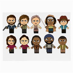 The Walking Dead   Main Characters Chibi   Amc Walking Dead   Manga Dead Large Glasses Cloth by PTsImaginarium