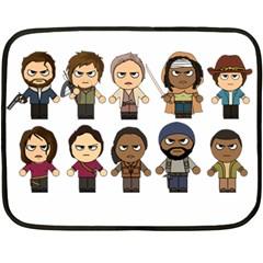 The Walking Dead   Main Characters Chibi   Amc Walking Dead   Manga Dead Fleece Blanket (mini) by PTsImaginarium