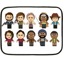 The Walking Dead   Main Characters Chibi   Amc Walking Dead   Manga Dead Double Sided Fleece Blanket (mini)  by PTsImaginarium