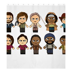 The Walking Dead   Main Characters Chibi   Amc Walking Dead   Manga Dead Shower Curtain 66  X 72  (large)  by PTsImaginarium