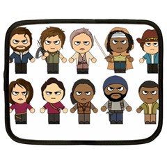 The Walking Dead   Main Characters Chibi   Amc Walking Dead   Manga Dead Netbook Case (xxl)  by PTsImaginarium