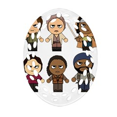 The Walking Dead   Main Characters Chibi   Amc Walking Dead   Manga Dead Ornament (oval Filigree)  by PTsImaginarium