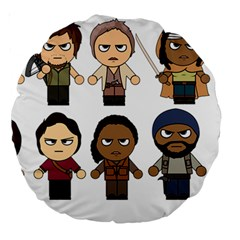 The Walking Dead   Main Characters Chibi   Amc Walking Dead   Manga Dead Large 18  Premium Round Cushions by PTsImaginarium