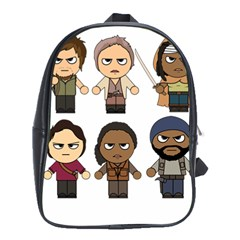 The Walking Dead   Main Characters Chibi   Amc Walking Dead   Manga Dead School Bags (xl)  by PTsImaginarium