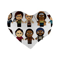 The Walking Dead   Main Characters Chibi   Amc Walking Dead   Manga Dead Standard 16  Premium Heart Shape Cushions by PTsImaginarium