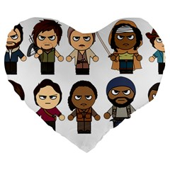 The Walking Dead   Main Characters Chibi   Amc Walking Dead   Manga Dead Large 19  Premium Heart Shape Cushions by PTsImaginarium