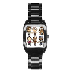 The Walking Dead   Main Characters Chibi   Amc Walking Dead   Manga Dead Stainless Steel Barrel Watch by PTsImaginarium
