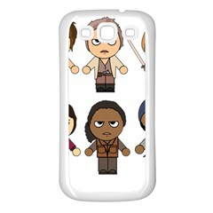 The Walking Dead   Main Characters Chibi   Amc Walking Dead   Manga Dead Samsung Galaxy S3 Back Case (white) by PTsImaginarium