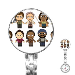 The Walking Dead   Main Characters Chibi   Amc Walking Dead   Manga Dead Stainless Steel Nurses Watch by PTsImaginarium