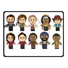 The Walking Dead   Main Characters Chibi   Amc Walking Dead   Manga Dead Double Sided Fleece Blanket (small)  by PTsImaginarium
