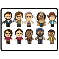 The Walking Dead   Main Characters Chibi   Amc Walking Dead   Manga Dead Double Sided Fleece Blanket (large)  by PTsImaginarium