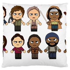 The Walking Dead   Main Characters Chibi   Amc Walking Dead   Manga Dead Large Flano Cushion Case (two Sides) by PTsImaginarium