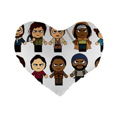 The Walking Dead   Main Characters Chibi   Amc Walking Dead   Manga Dead Standard 16  Premium Flano Heart Shape Cushions by PTsImaginarium