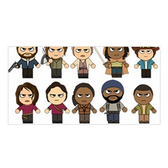 The Walking Dead   Main Characters Chibi   Amc Walking Dead   Manga Dead Satin Shawl by PTsImaginarium