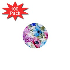 Watercolor Spring Flowers 1  Mini Buttons (100 Pack)