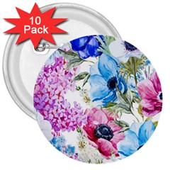 Watercolor Spring Flowers 3  Buttons (10 Pack)
