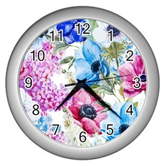 Watercolor Spring Flowers Wall Clocks (silver)