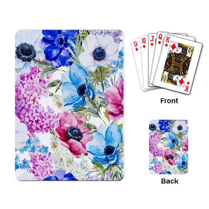 Watercolor spring flowers Playing Card