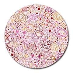 Ornamental Pattern With Hearts And Flowers  Round Mousepads by TastefulDesigns