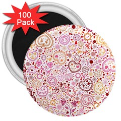 Ornamental Pattern With Hearts And Flowers  3  Magnets (100 Pack)