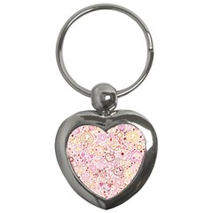 Ornamental Pattern With Hearts And Flowers  Key Chains (heart)