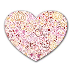 Ornamental Pattern With Hearts And Flowers  Heart Mousepads by TastefulDesigns
