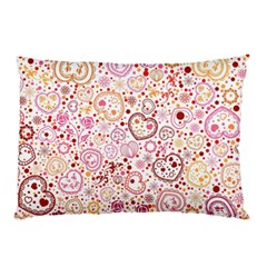 Ornamental Pattern With Hearts And Flowers  Pillow Case