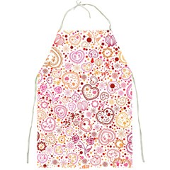 Ornamental Pattern With Hearts And Flowers  Full Print Aprons