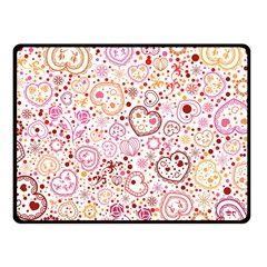 Ornamental Pattern With Hearts And Flowers  Fleece Blanket (small)