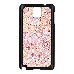 Ornamental Pattern With Hearts And Flowers  Samsung Galaxy Note 3 N9005 Case (black)