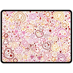 Ornamental Pattern With Hearts And Flowers  Double Sided Fleece Blanket (large)