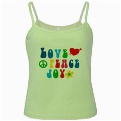 Love Peace Joy Green Spaghetti Tank