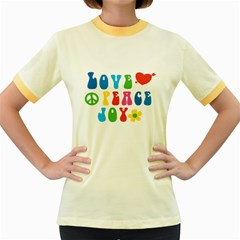 Love Peace Joy Women s Fitted Ringer T Shirts