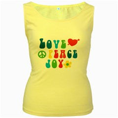 Love Peace Joy Women s Yellow Tank Top