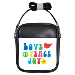 Love Peace Joy Girls Sling Bags